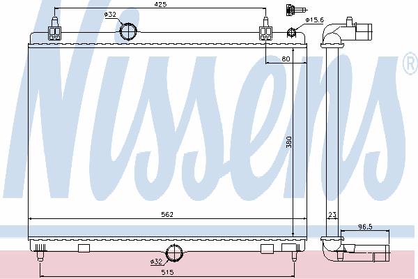 Радиатор, охлаждение двигателя NISSENS 636009