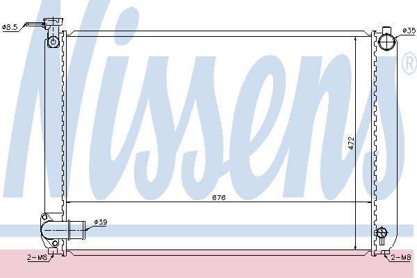 Радиатор, охлаждение двигателя NISSENS 646829