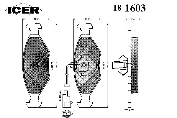 Тормозные колодки ICER 181603