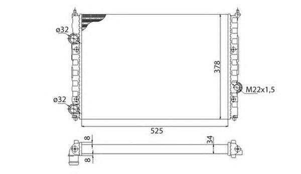 Радиатор, охлаждение двигателя MAGNETI MARELLI 350213808003