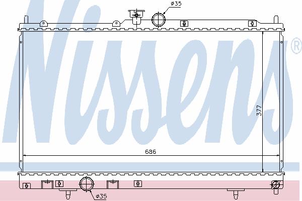 Радиатор, охлаждение двигателя NISSENS 628956