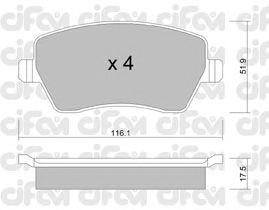 Тормозные колодки CIFAM 822-485-0