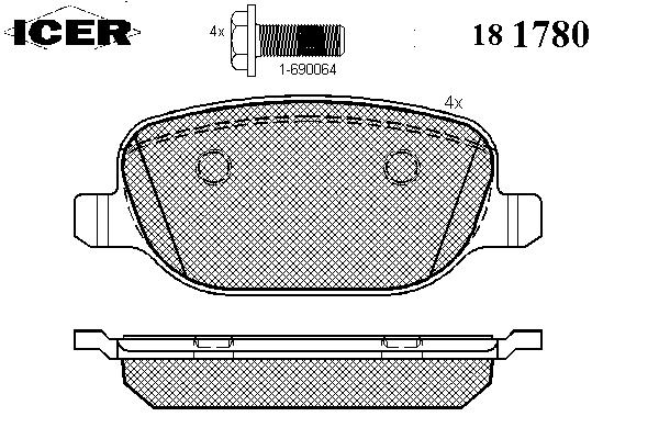 Тормозные колодки ICER 181780