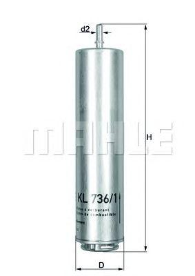 Топливный фильтр MAHLE ORIGINAL KL 736/1D