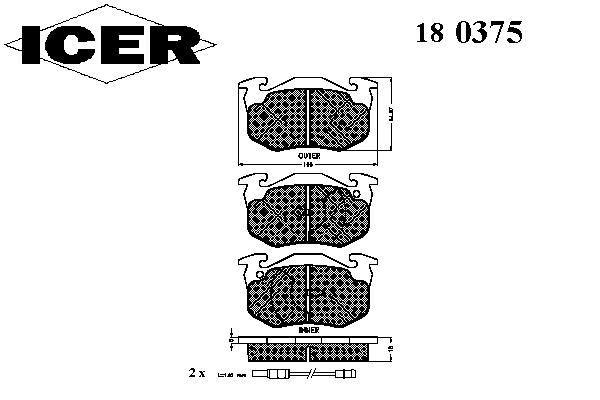 Тормозные колодки ICER 180375