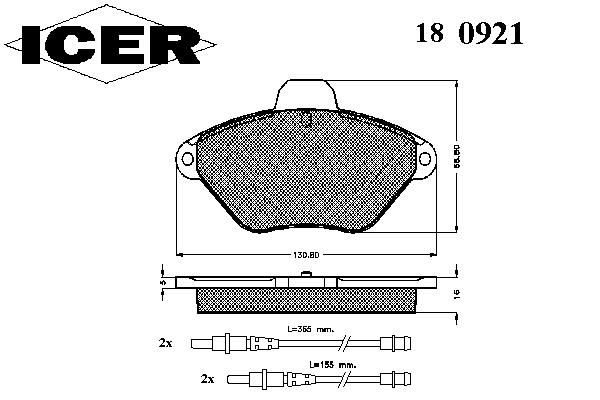 Тормозные колодки ICER 180921