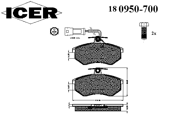 Тормозные колодки ICER 180950-700