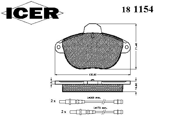 Тормозные колодки ICER 181154