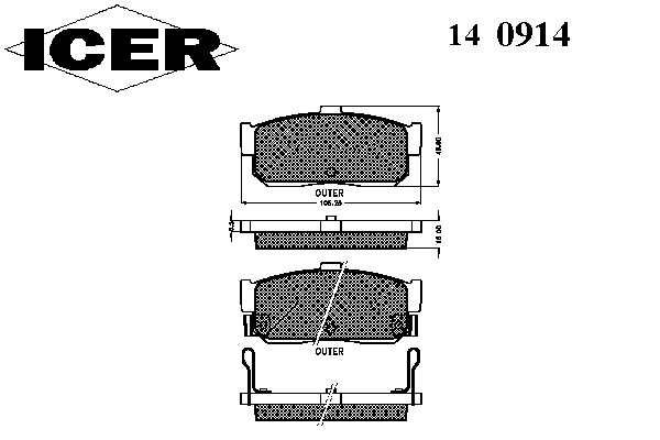 Тормозные колодки ICER 140914