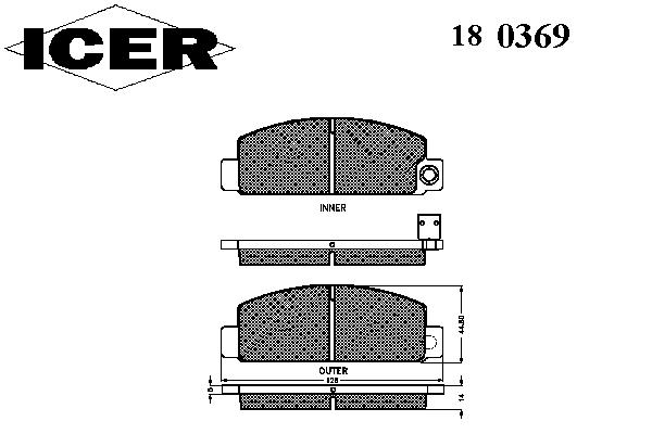 Тормозные колодки ICER 180369