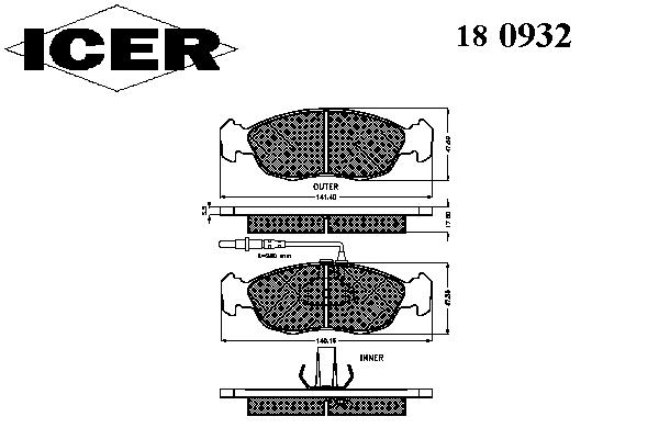 Тормозные колодки ICER 180932
