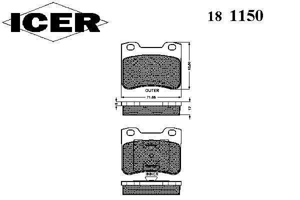 Тормозные колодки ICER 181150