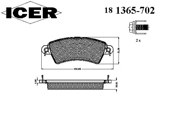 Тормозные колодки ICER 181365-702