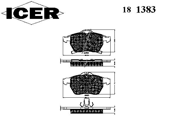 Тормозные колодки ICER 181383