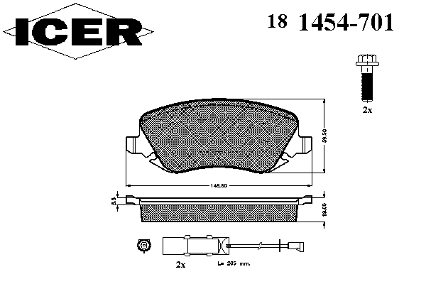 Тормозные колодки ICER 181454-701