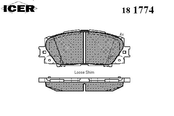 Тормозные колодки ICER 181774