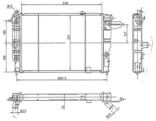 Радиатор, охлаждение двигателя NRF 513508