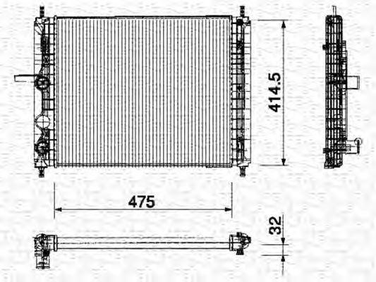Радиатор, охлаждение двигателя MAGNETI MARELLI 350213164000