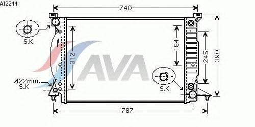 Радиатор, охлаждение двигателя AVA QUALITY COOLING AI2244