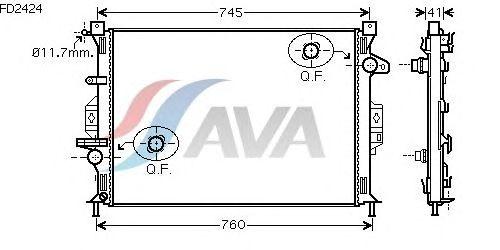Радиатор, охлаждение двигателя AVA QUALITY COOLING FD2424