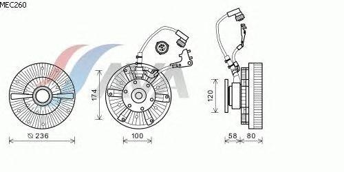 Вязкостная муфта вентилятора охлаждения AVA QUALITY COOLING MEC260