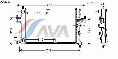 Радиатор, охлаждение двигателя AVA QUALITY COOLING OLA2380