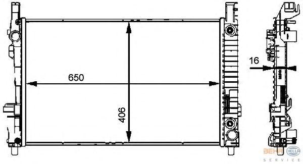 Радиатор, охлаждение двигателя BEHR HELLA SERVICE 8MK 376 721-031