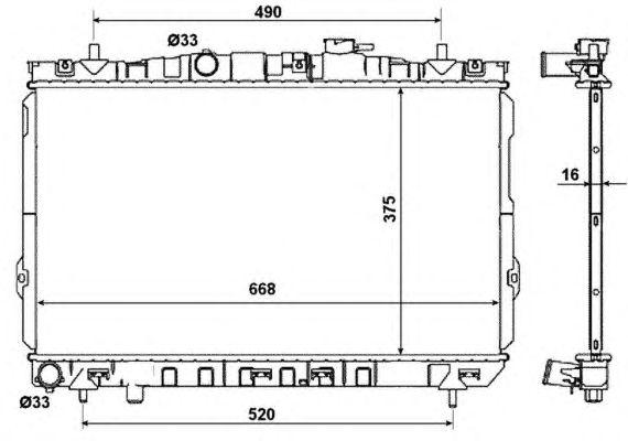 Радиатор, охлаждение двигателя NRF 53471