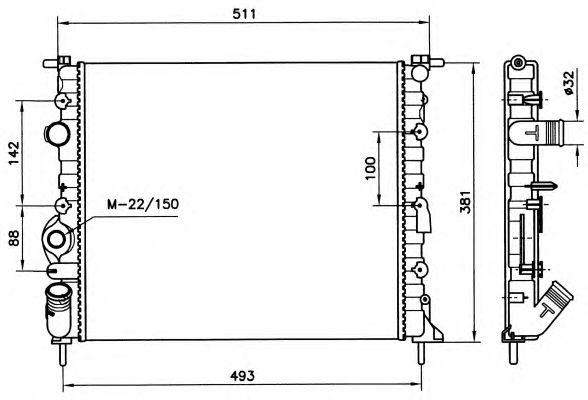 Радиатор, охлаждение двигателя NRF 58023