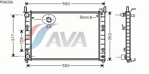 Радиатор, охлаждение двигателя AVA QUALITY COOLING FDA2326