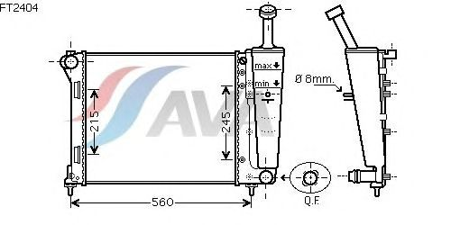 Радиатор, охлаждение двигателя AVA QUALITY COOLING FT2404