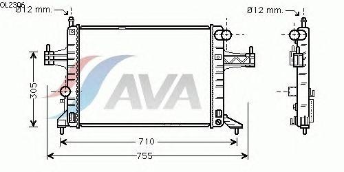 Радиатор, охлаждение двигателя AVA QUALITY COOLING OL2306