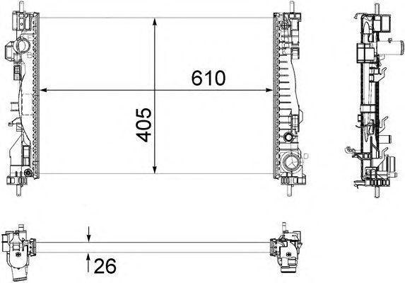 Радиатор, охлаждение двигателя MAGNETI MARELLI 350213129700