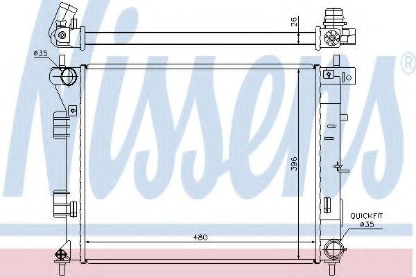 Радиатор, охлаждение двигателя NISSENS 67607