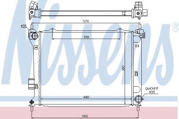Радиатор, охлаждение двигателя NISSENS 67549