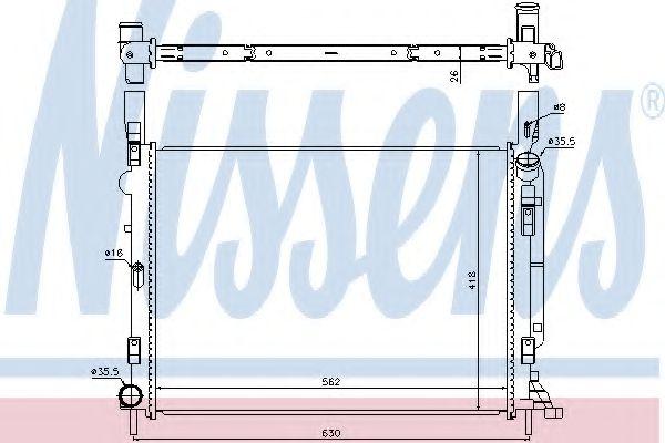 Радиатор, охлаждение двигателя NISSENS 637618