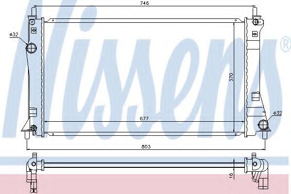 Радиатор, охлаждение двигателя NISSENS 68528